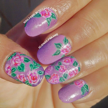 Purple Flowers nail art by Nailfame
