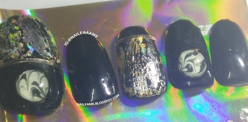 DIY Marble Nail Stud nail art by Nailfame