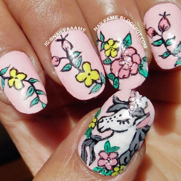 Dreamy Unicorn nail art by Nailfame