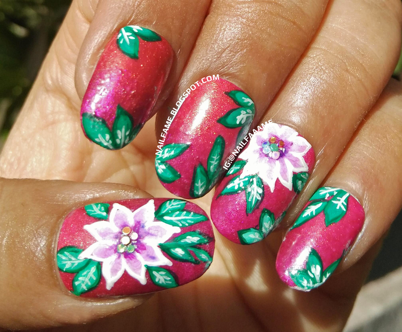 One Stroke Flower nail art by Nailfame
