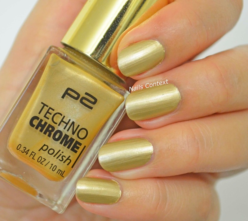 P2 Techno Chrome 090 Golden Edge Swatch by NailsContext