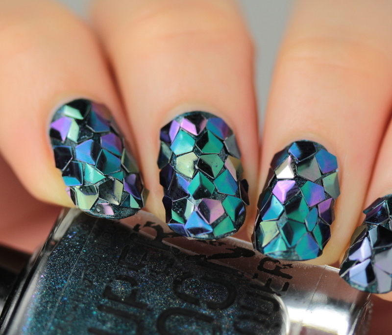 Dragon scale glitter nail art by Kerry_Fingertips