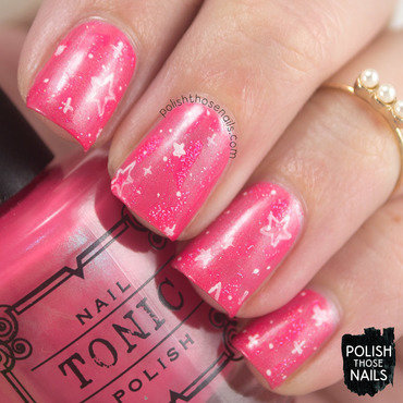 Pink distressed star galaxy nail art 4 thumb370f