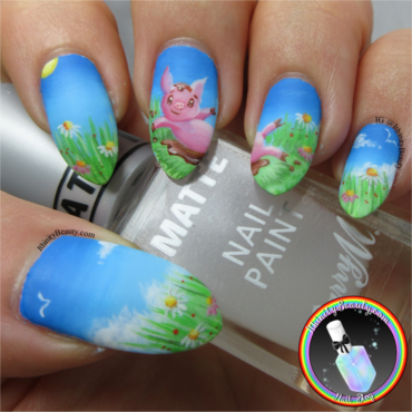 Spring Piggy nail art by Ithfifi Williams