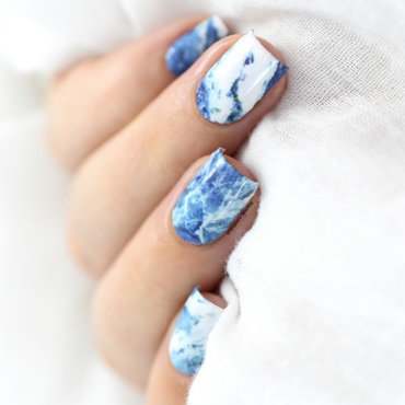 Easy blue marble nail art water decals 20 5  thumb370f