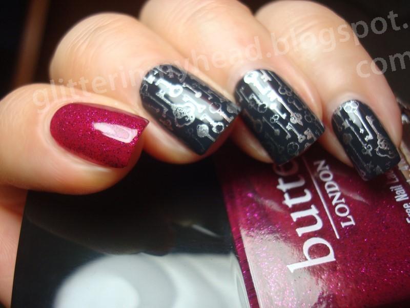 Keys & Fuchsia nail art by The Wonderful Pinkness