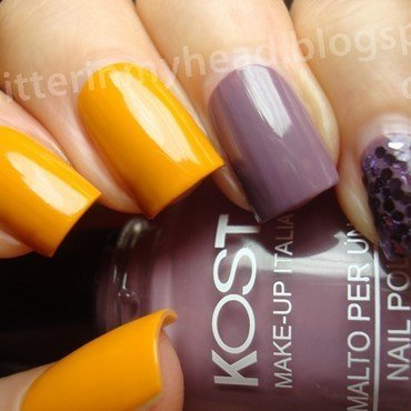 Mustard & violet nail art by The Wonderful Pinkness