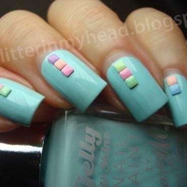Pastel squares nail art by The Wonderful Pinkness