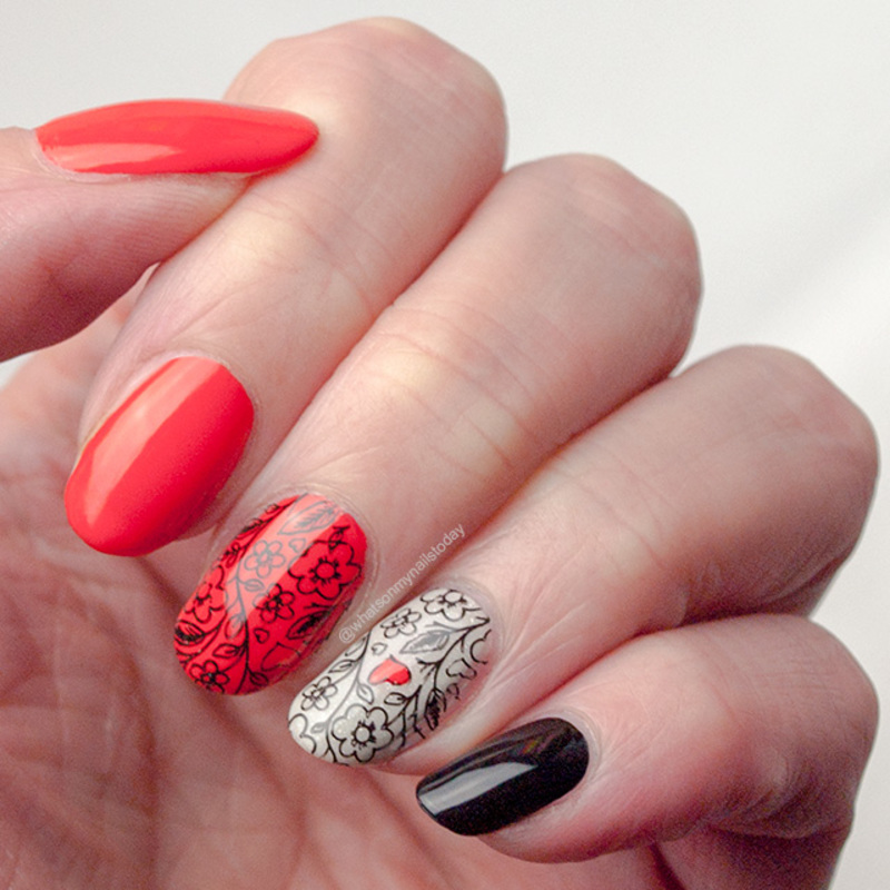 Fiery florals nail art by What's on my nails today?