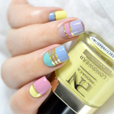 Pastel Color Block nail art by Marine Loves Polish