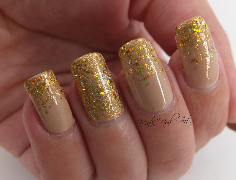 Nude And Gold Glitter nail art by Make Nail Art