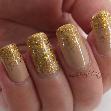 Nude And Gold Glitter nail art by Make Nail Art
