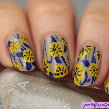 Yellow floral nails thumb370f