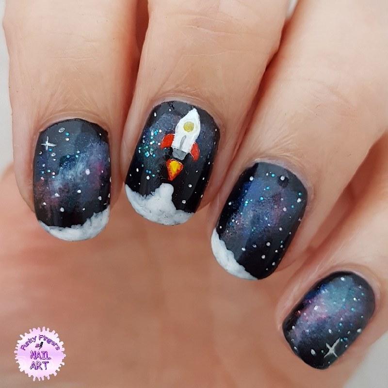 Rocket ship nails nail art by Funky fingers nail art
