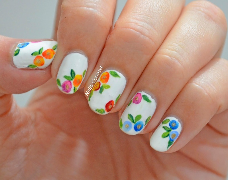 Watercolor Florals  nail art by NailsContext