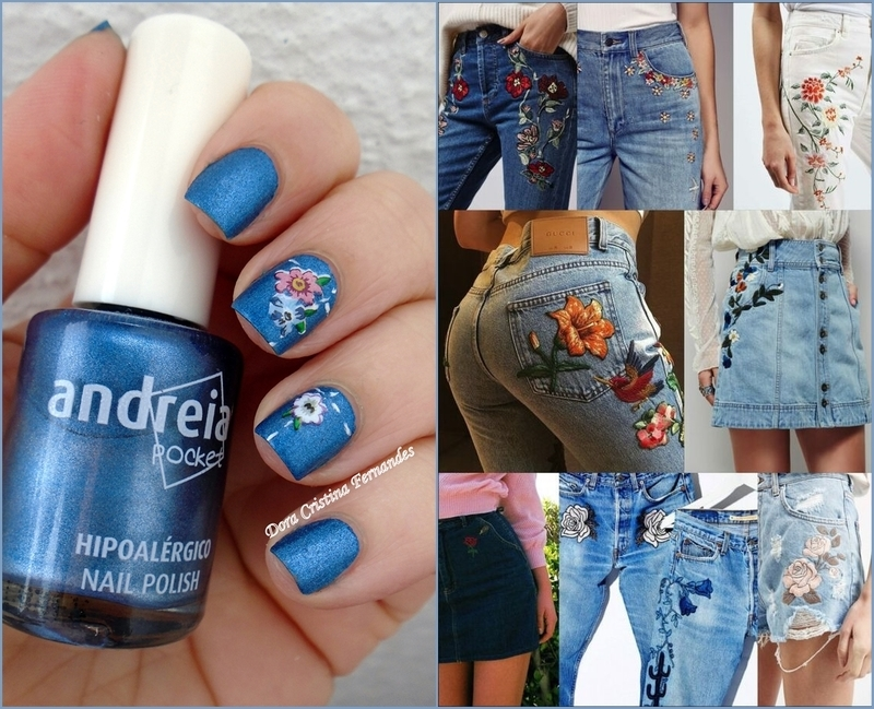 Inspired by : Floral Embroidered Denim nail art by Dora Cristina Fernandes