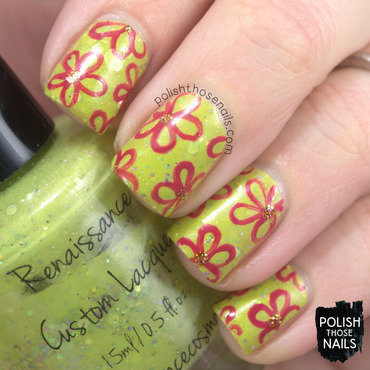 Lime green glitter red floral outline pattern nail art 4 thumb370f