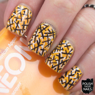 Neon Geometric Dust nail art by Marisa  Cavanaugh