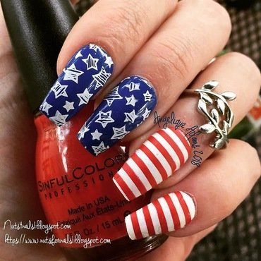 Stars and Stripes  nail art by Angelique Adams