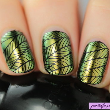 Leaf stamped nails thumb370f