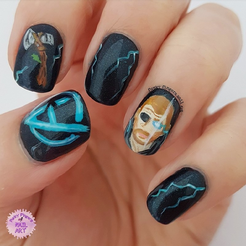 Thor Infinity war nails nail art by Funky fingers nail art