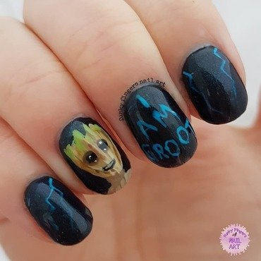 Groot nails nail art by Funky fingers nail art