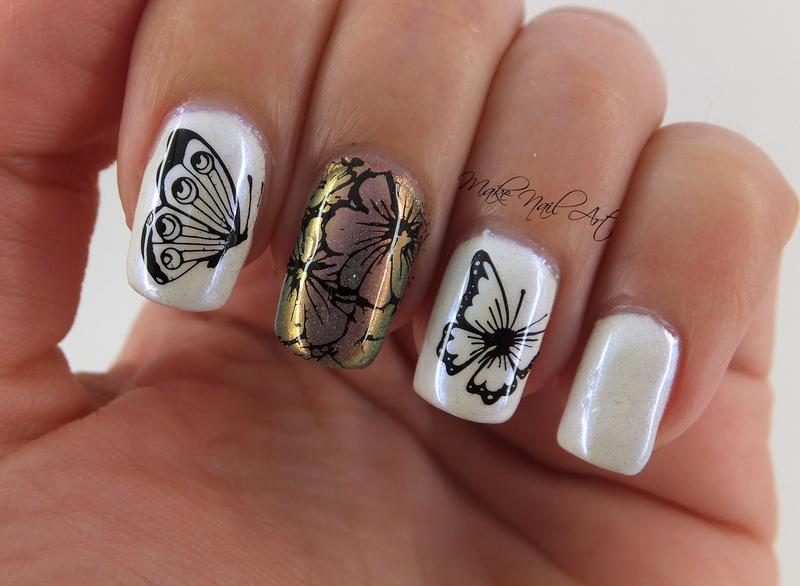 Butterflies  nail art by Make Nail Art