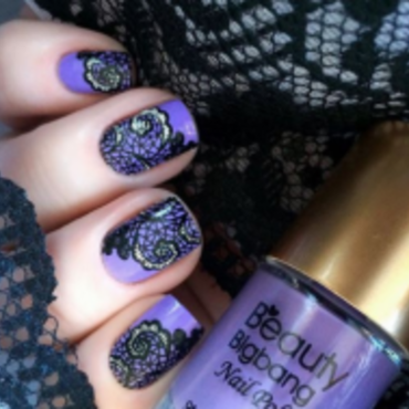 Purple coat with black  stamp nail art by beautynailpolish