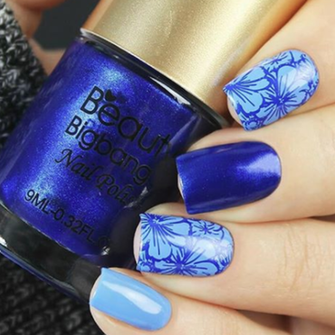 Beauty bigbnag dark blue and light blue with flowers  nail art by beautynailpolish