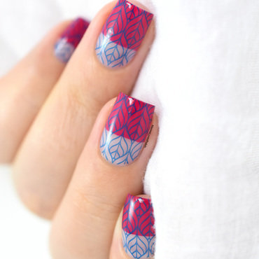 Pink & Blue negative space nail art by Marine Loves Polish