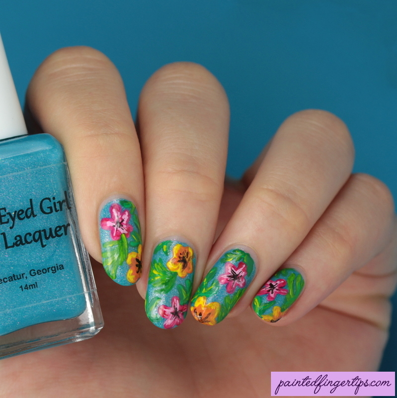 Tropical flowers nail art by Kerry_Fingertips