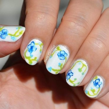 Blue Orchids  nail art by NailsContext