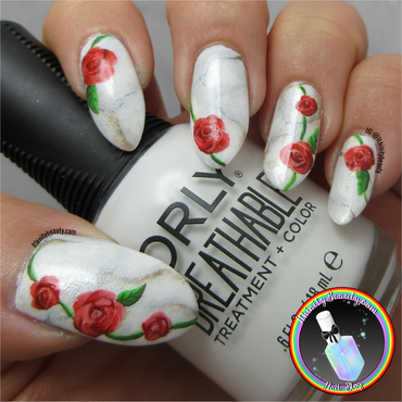 Red Roses On Marble nail art by Ithfifi Williams