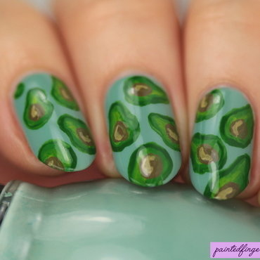 Avocado print nail art by Kerry_Fingertips