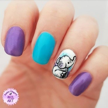 Baby elephant nails nail art by Funky fingers nail art