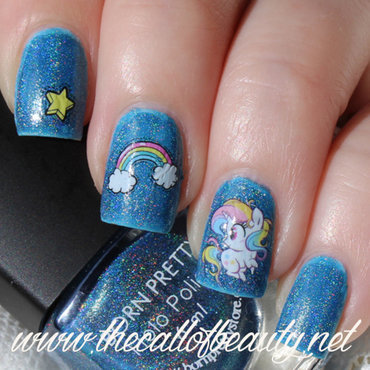 Rainbow unicorn nail art by The Call of Beauty