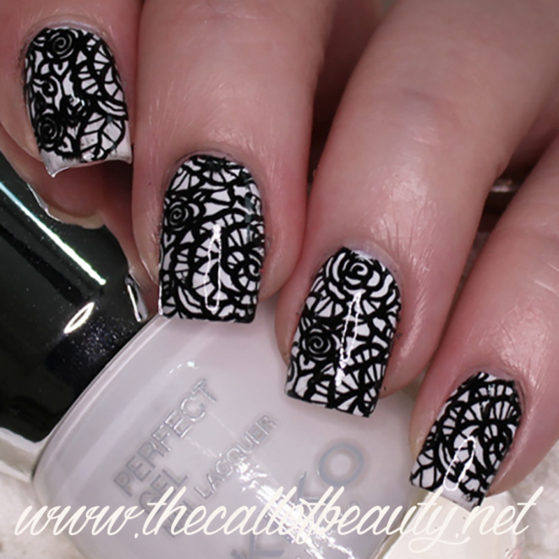 Black and White Lace nail art by The Call of Beauty