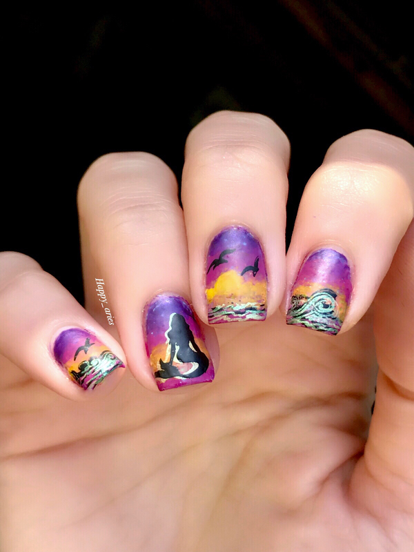 mermaid in the sunset  nail art by Happy_aries