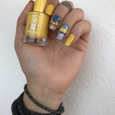 Yellow nail art by Pelinkovacc