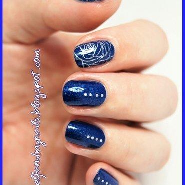 Silver roses nail art by ELIZA OK-W