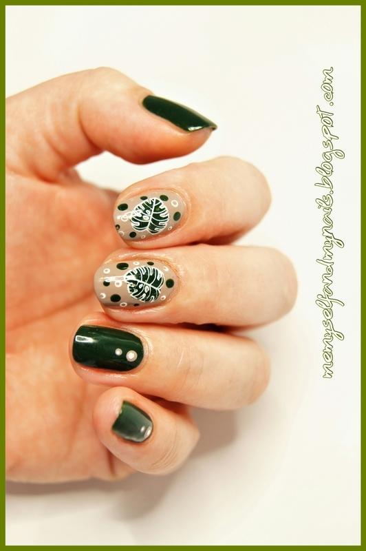 Monstera nail art by ELIZA OK-W