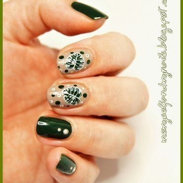 Monstera nail art by ELIZA OK-W