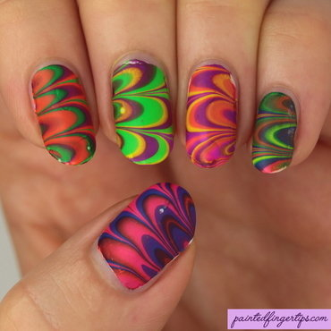 Summer neons water marble nail art by Kerry_Fingertips
