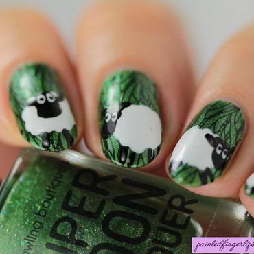 Sheep nails nail art by Kerry_Fingertips