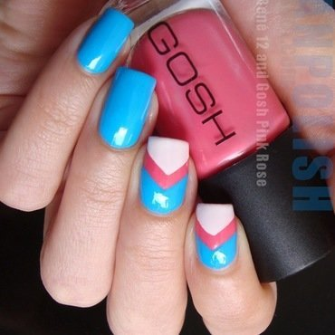 PIERRE RENÉ 12, GOSH Pink Rose and MARYLINS 1 nail art by Lian