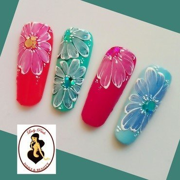Quick design flower nail art by Rossella Landi