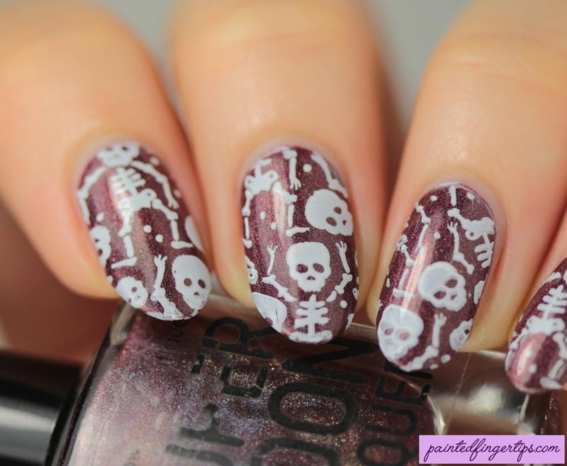 Skeletons!  nail art by Kerry_Fingertips