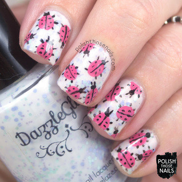 Lady Bug Trouble nail art by Marisa  Cavanaugh