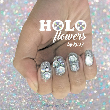 Holo Flowers Nailart nail art by K027 (Nabila)