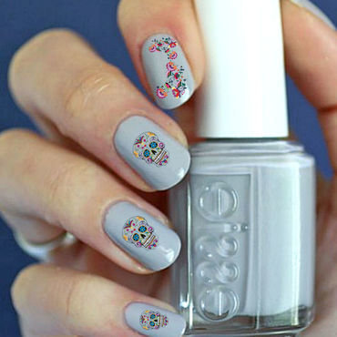 Skeleton flowers nail art by FRANCESCA SPORTELLA